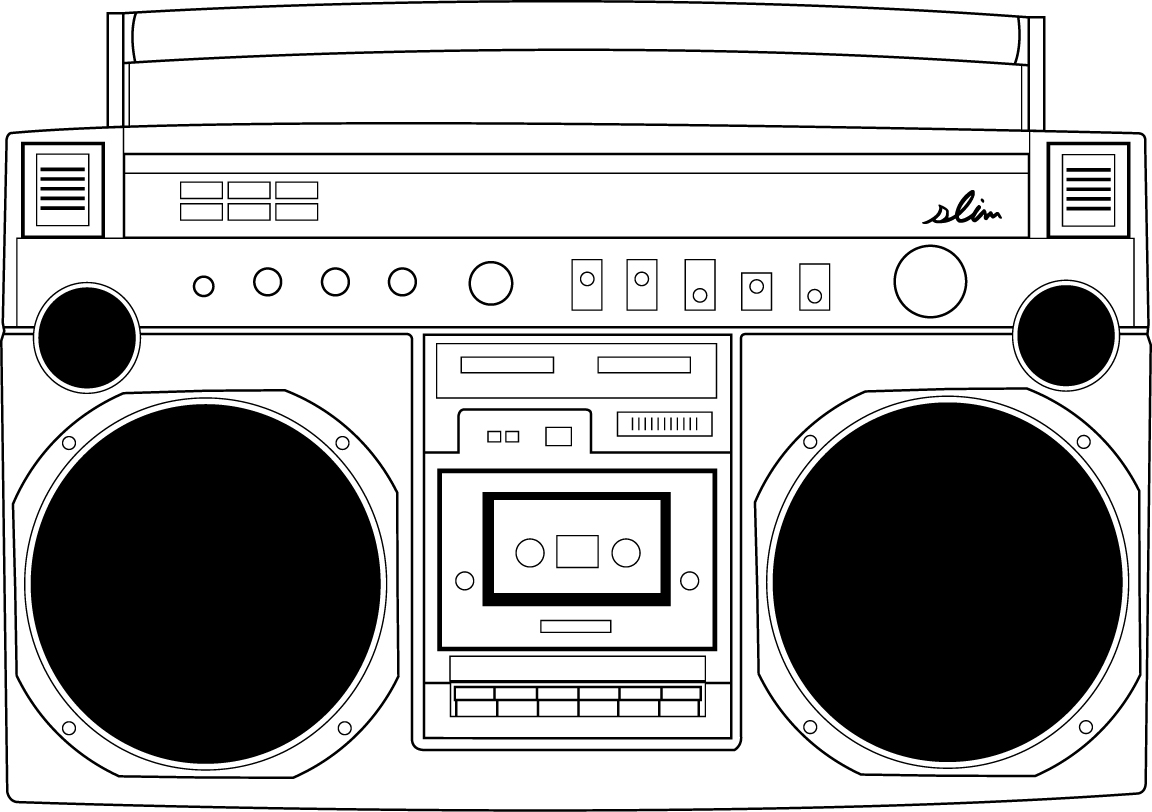 Boombox clipart black and white. Free download clip art