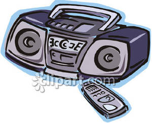 Boombox stereo with remote. Cd clipart cartoon