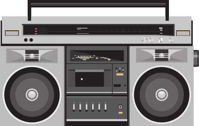 Golden age of radio. Boombox clipart cassete