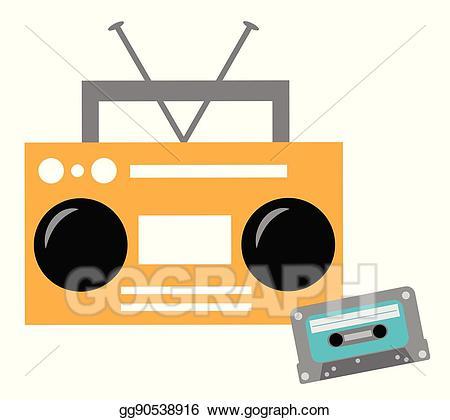 Boombox clipart cassete. Vector illustration and cassette