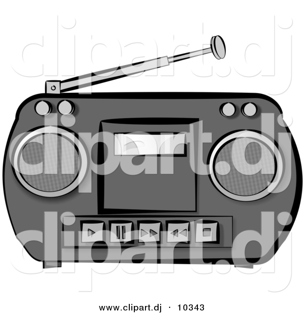 Of a potable radio. Boombox clipart classic