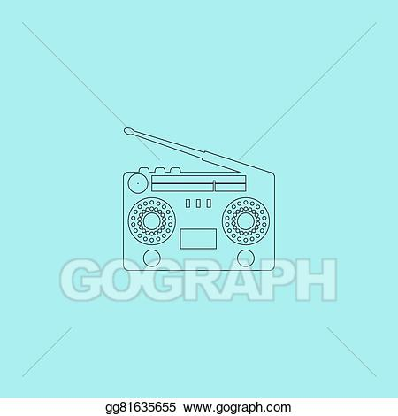 Boombox clipart classic. Vector art s eps