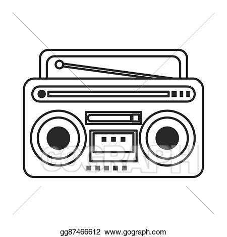 Vector icon illustration. Boombox clipart classic