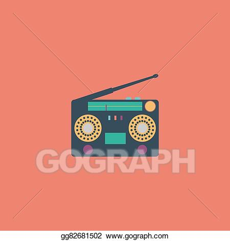 Vector art s eps. Boombox clipart classic