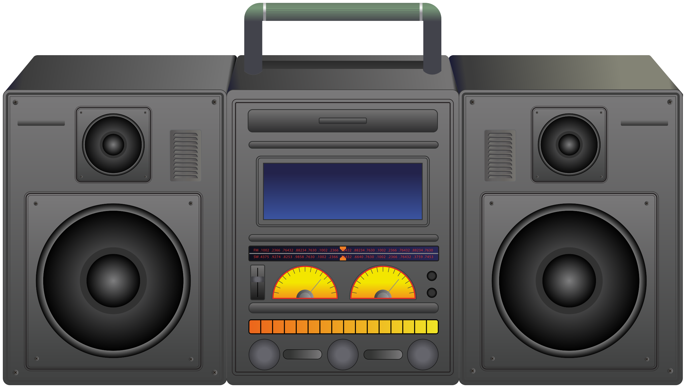 Boombox portable player icons. Electronics clipart music thing