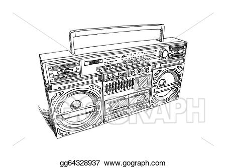 Vector art oldschool drawing. Boombox clipart draw
