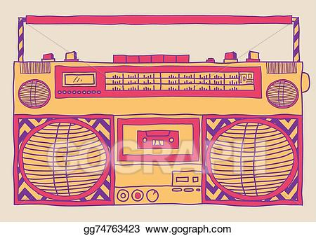 Boombox clipart draw. Vector art drawing gg