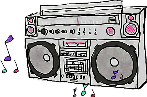 Music tumblr sticker by. Boombox clipart loud radio