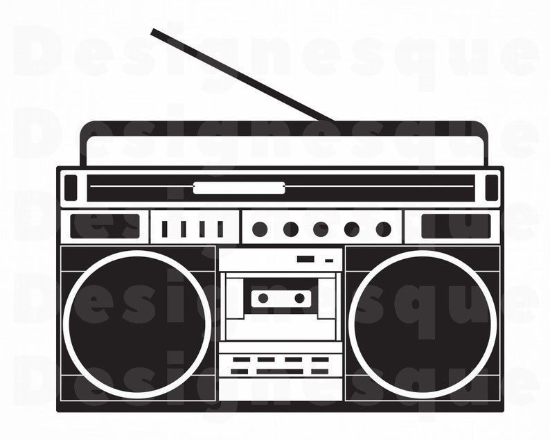 Radio svg files for. Boombox clipart silhouette
