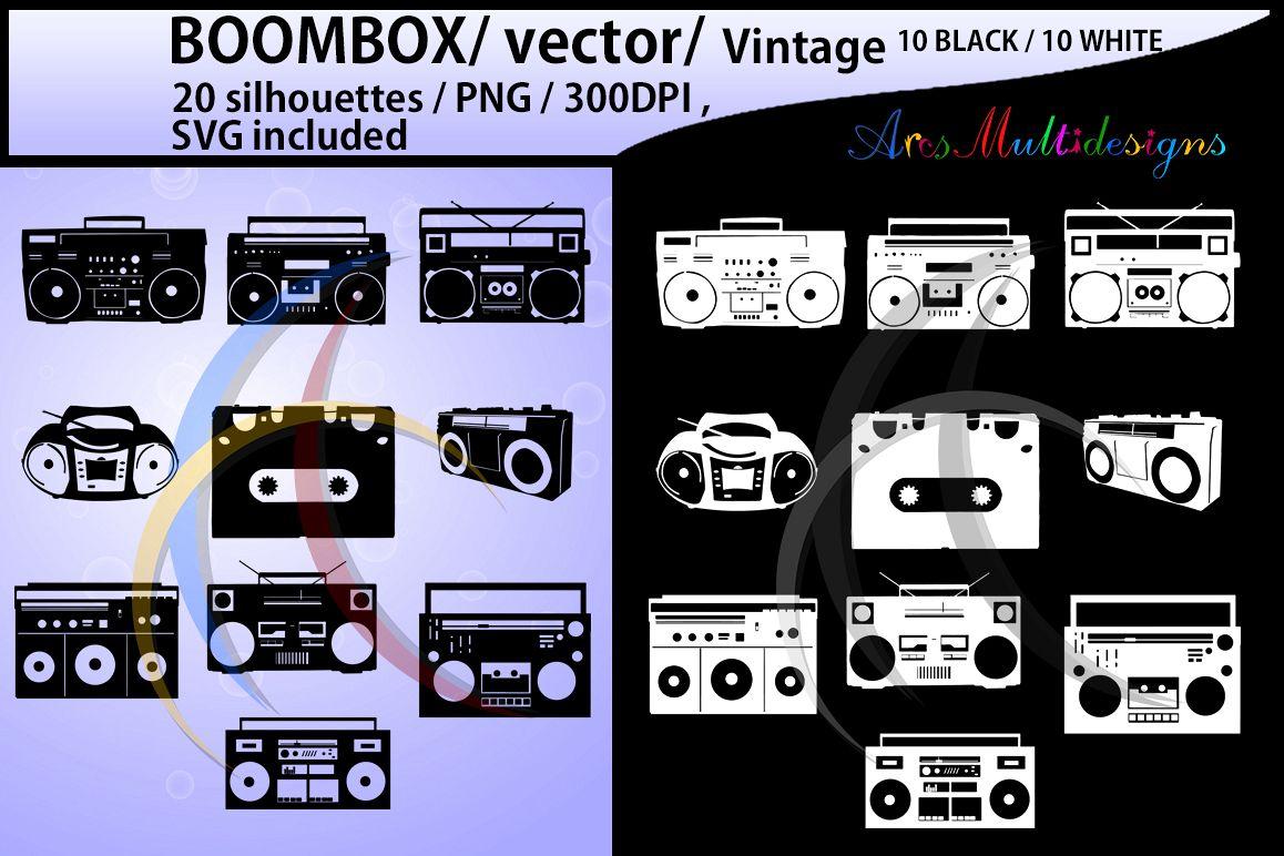Boombox clipart silhouette. Svg b w boom