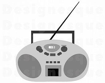 Etsy svg radio files. Boombox clipart silhouette