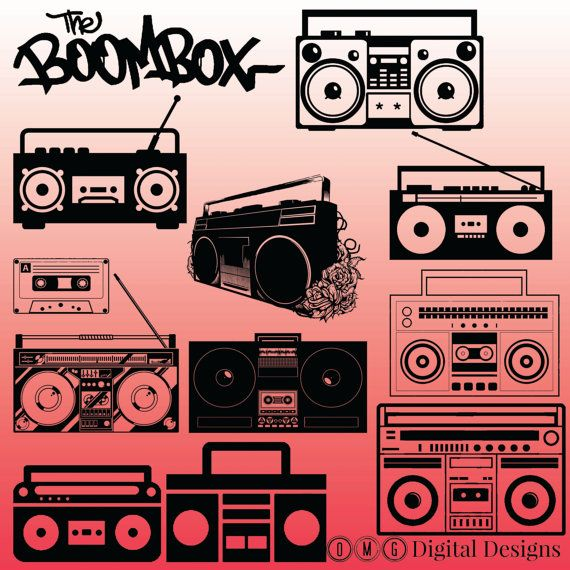 digital images by. Boombox clipart silhouette