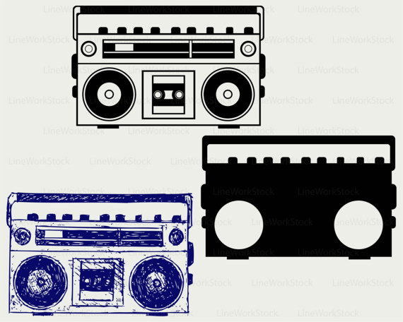 Tape recorder svg old. Boombox clipart silhouette
