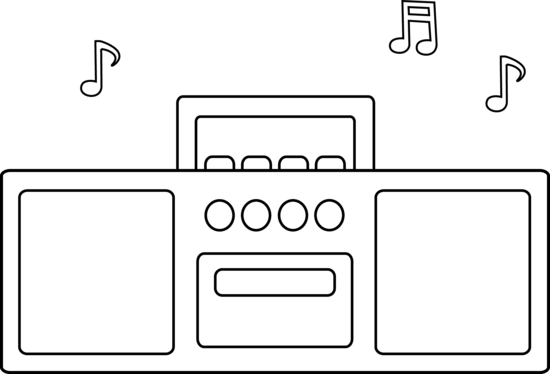 Radio line art free. Boombox clipart simple