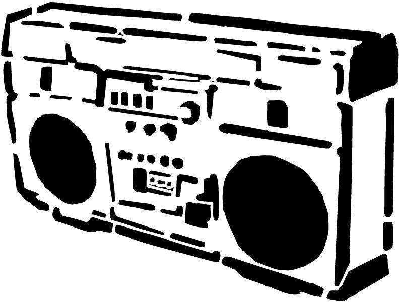 Boombox clipart stencil. Stereo stencils stenciling and