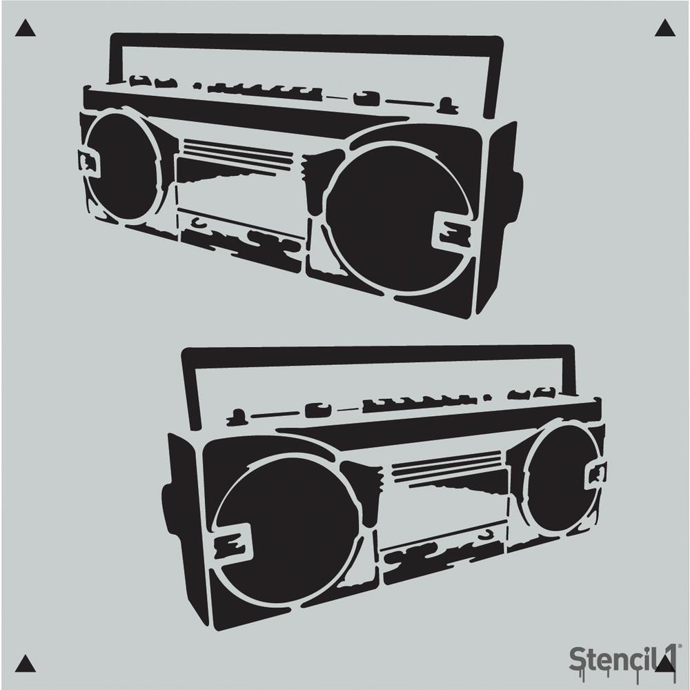 Boombox clipart stencil. Repeat pattern