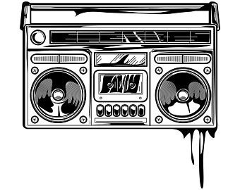 Old school etsy . Boombox clipart stencil