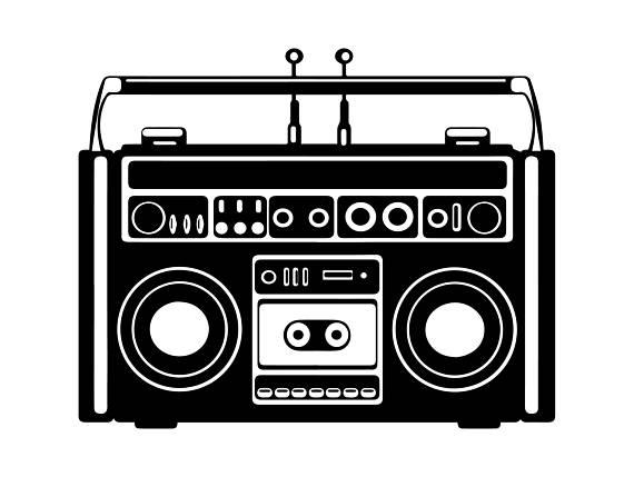 Retro music s cassette. Boombox clipart svg