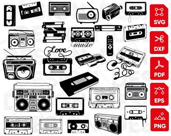 Cassette bundle tape music. Boombox clipart svg