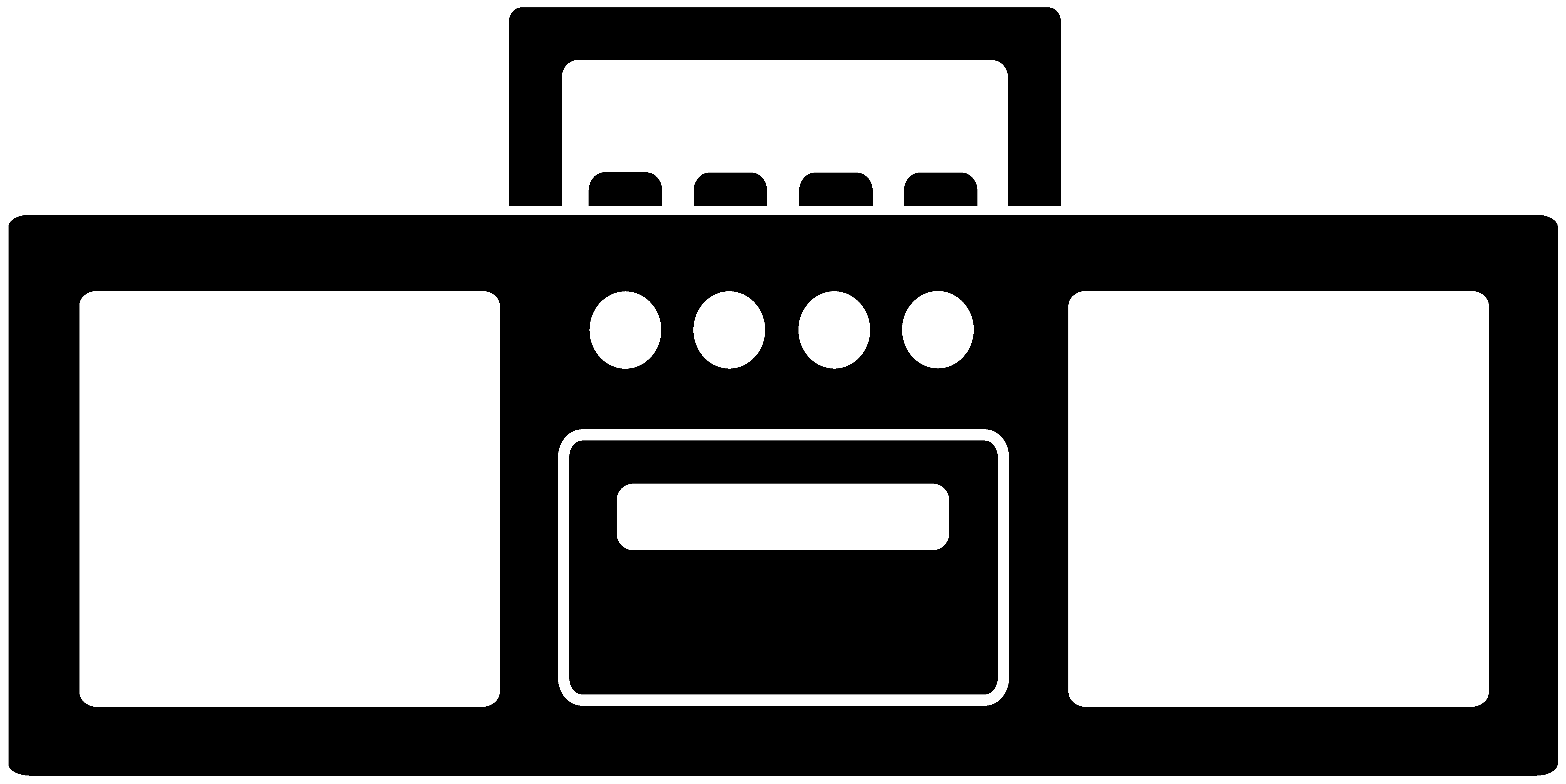 Boombox clipart vector. Black and white