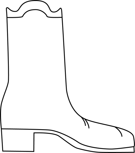 Cowboy clip art image. Boot clipart black and white