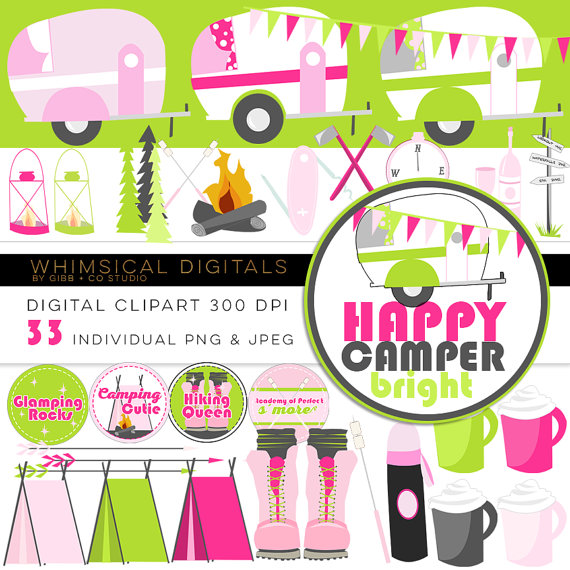 Happy camper bright glamping. Boot clipart camping
