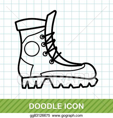 Eps illustration doodle vector. Boot clipart camping
