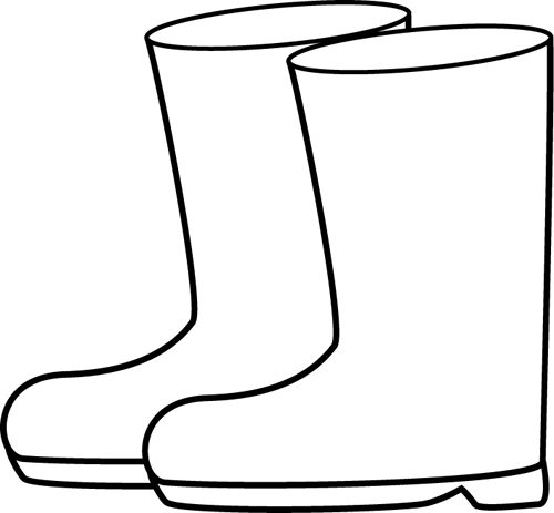 Wet clipart rain boot. Boots black and white