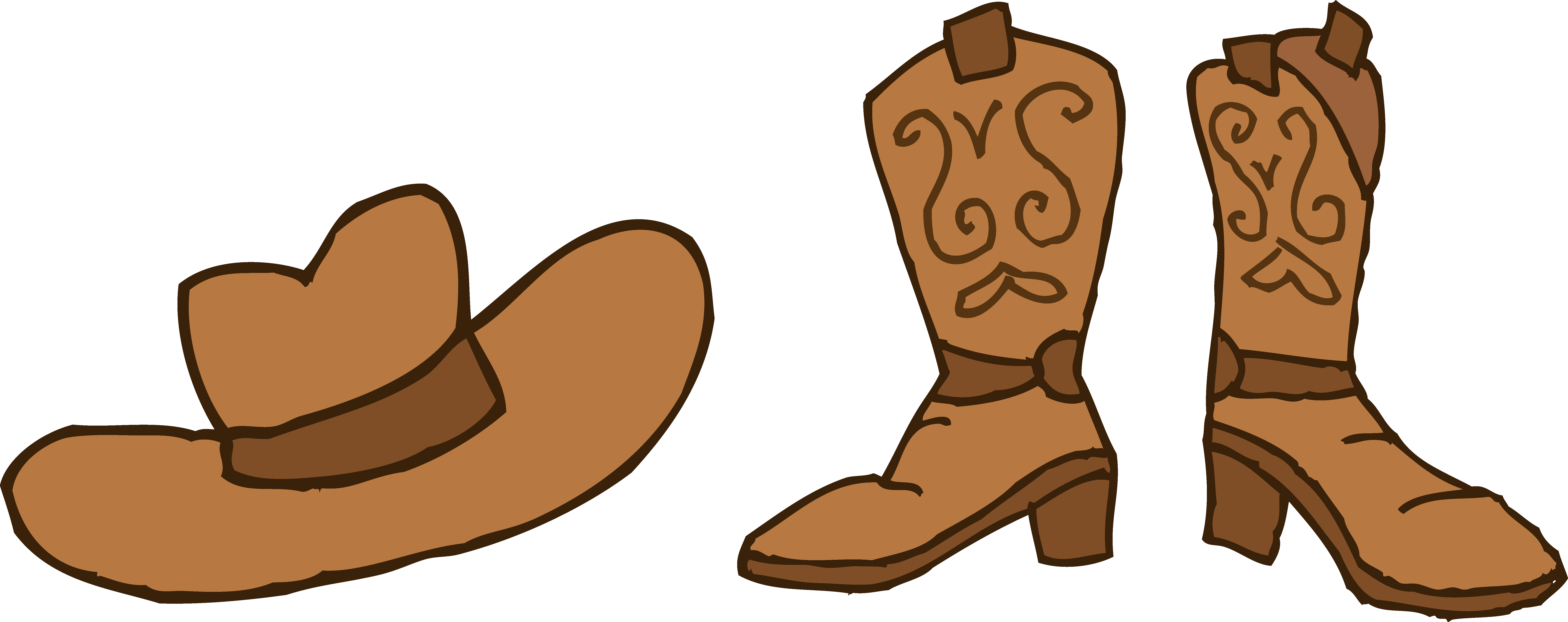 Cowboy hat and boots. Mittens clipart boot