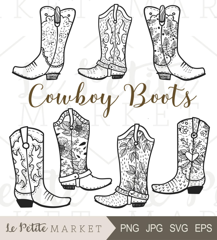 Boot clipart cowboy boot. Clip art hand drawn