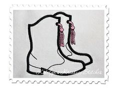 Boot clipart drill team. Boots applique sizes featured