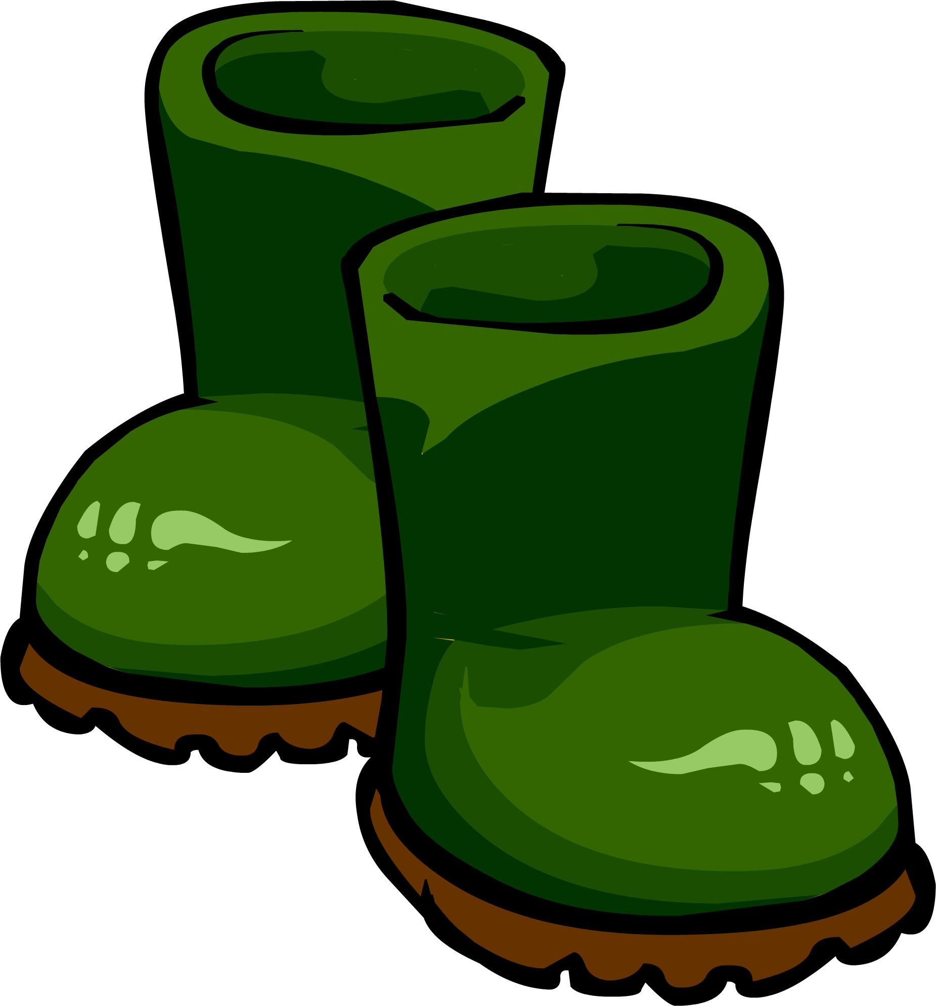 Rubber boots club penguin. Boot clipart green boot