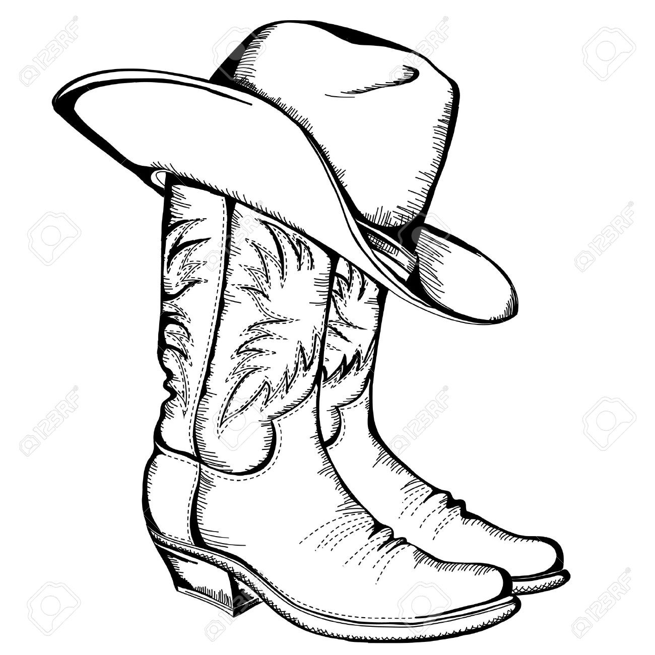 Boots clipart illustration.  cowboy and hat