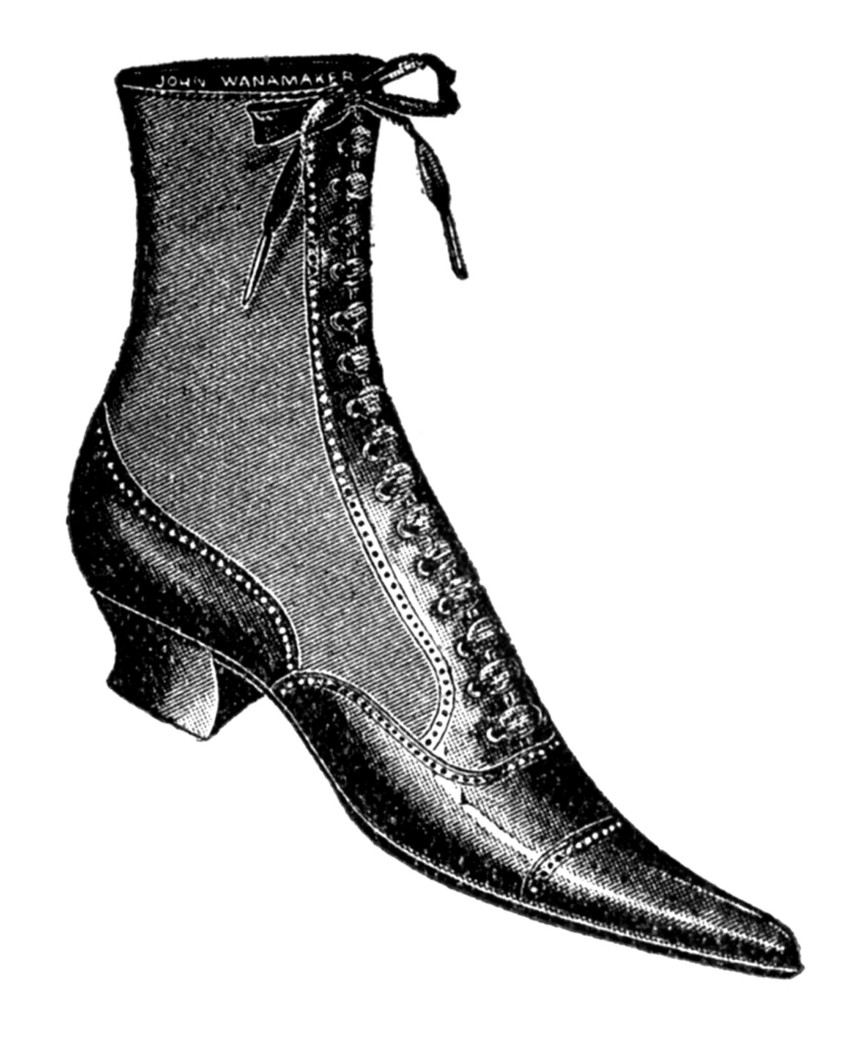 Vintage clip art ladies. Boot clipart old boot