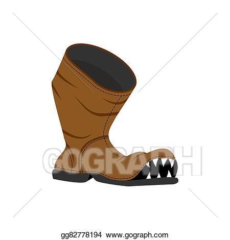 Vector art broken shoes. Boot clipart old boot