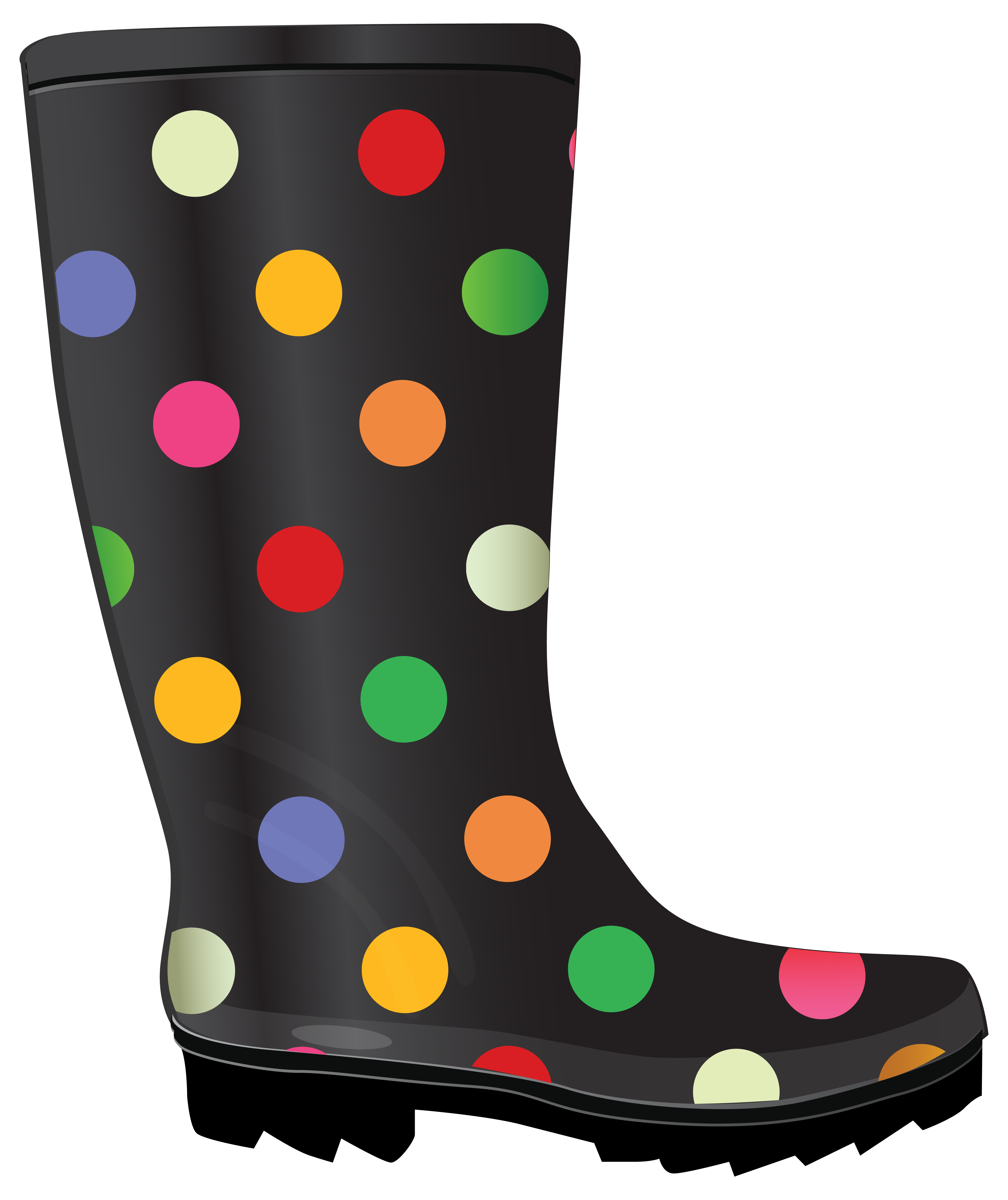 Dotted rubber boots rain. Winter clipart boot