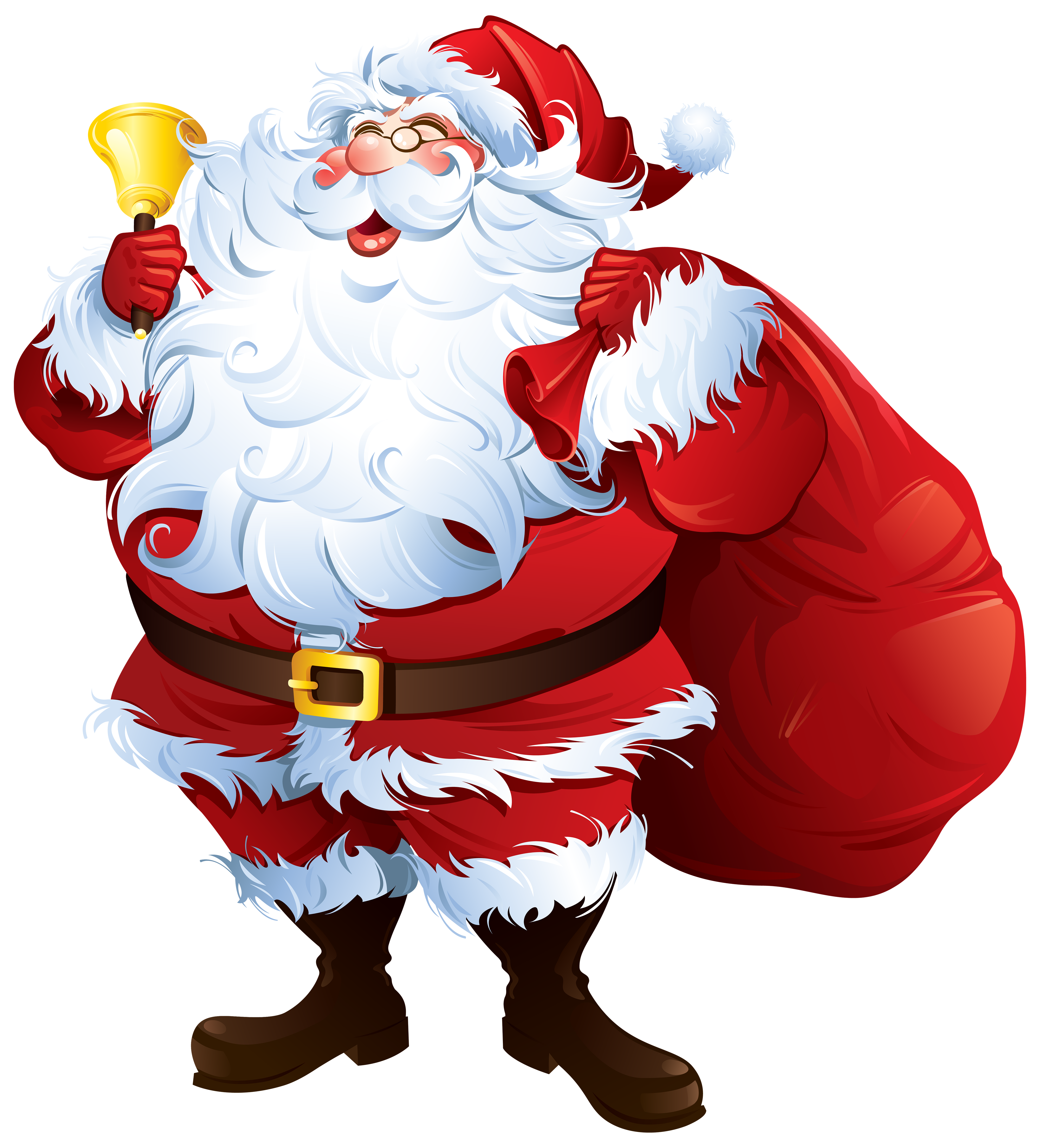 Claus with bell and. Clipart santa hand