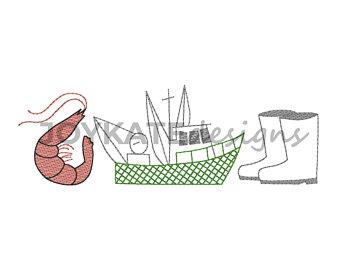 Boots clipart shrimp. Etsy boat trio vintage