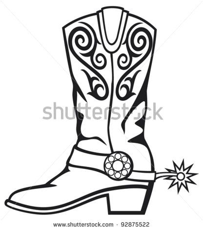 Boot clipart sketch. Cowboy country charm pinterest