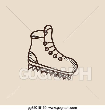 Boot clipart sketch. Vector illustration hiking with