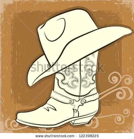 Boot clipart sketch. Color cowboy collection hat