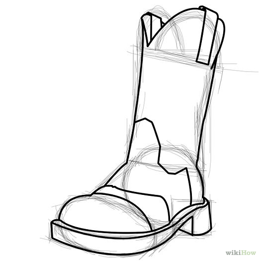 How to draw a. Boot clipart sketch