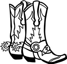 Free cowboy outline vector. Boot clipart sketch