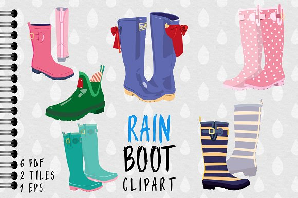 Boot clipart wellington boot. Rain illustrations creative market