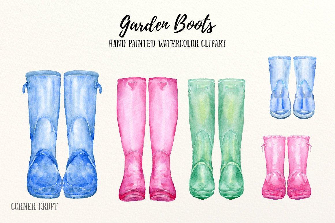 Garden boots watercolour watercolor. Boot clipart wellington boot