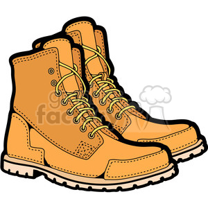 Mens boots in color. Boot clipart work boot
