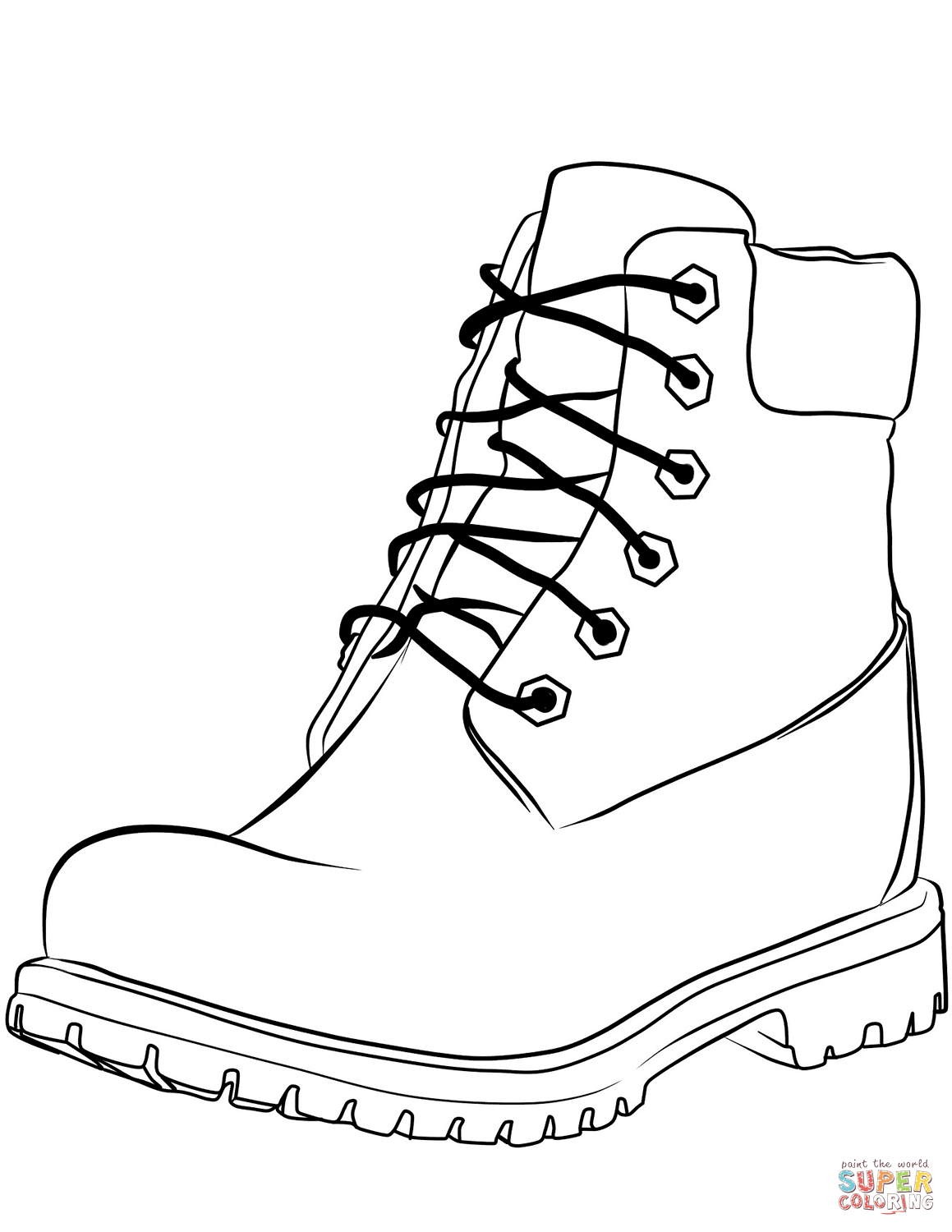 Coloring page free printable. Boot clipart work boot
