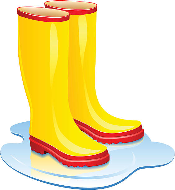 Rain wet pencil and. Boots clipart