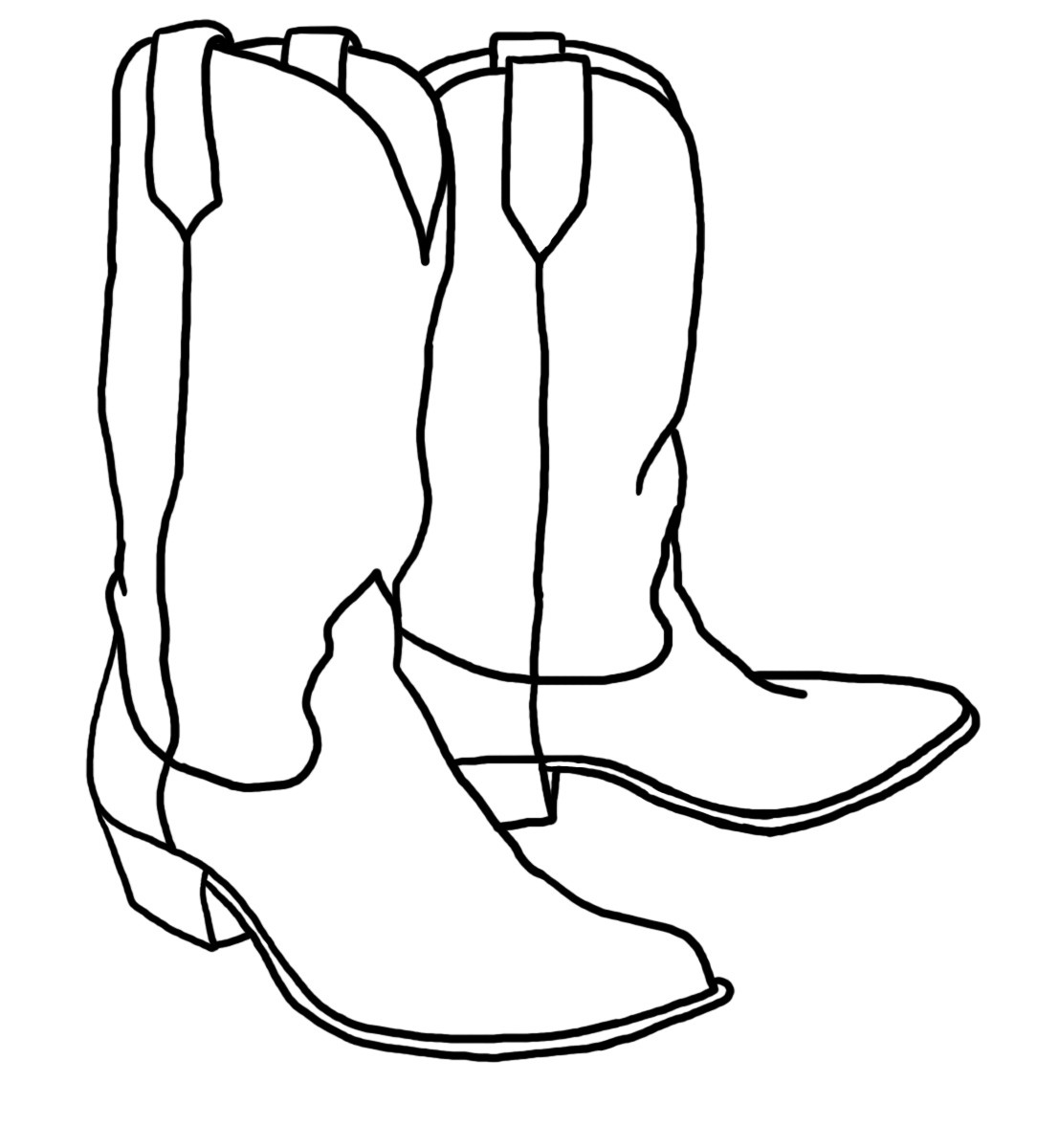Cowboy boots black and. Boot clipart sketch