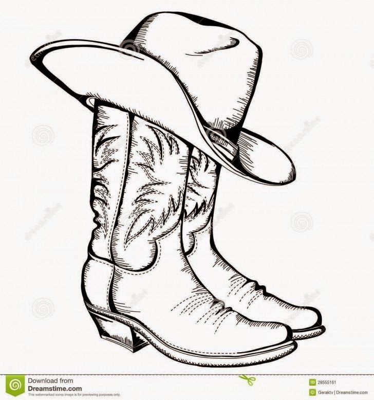 Cowboy clipart cowboy drawing. Boots and hat hd